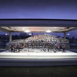 Jaguar has unveiled a unique aluminium word cloud sculpture in the the shape of the new Jaguar XE sports saloon at the London Design Museum.