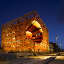 Orange Cube by Jacob + Macfarlane Architects in Quai Rambaud, Lyon.
