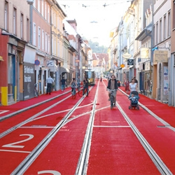 'Ready. steady. go!', an installation by Sandra Janser and Elisabeth Koller which is meant to provide a visual frame within the Jakomini district of Graz, Austria.
