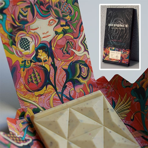 James Jean limited edition Defonce Cannabis Chocolate! The bar is a decadent cannabis-infused white chocolate splashed with Rosé champagne and showered with pistachios and strawberries.