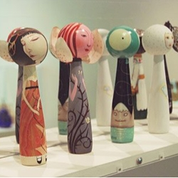 A special display from over 100 well-known international contemporary artists custom painted Japanese kokeshi dolls is available for sale at the JANM store.