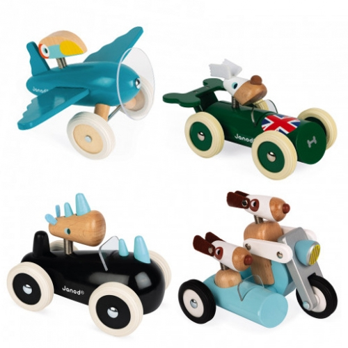 Janod Spirit collection of animal racers made of wood, beautifully painted, and their springy necks let their heads bounce as you race around.