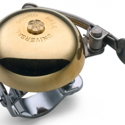 This japanese bike bell is made of brass and sounds so bright and happy you'll always try a to find a reason to use it.