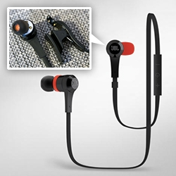 JBL J46BT Bluetooth in-ear headphones. Perfect idea for workouts, etc ~ fascinating design detail on the USB charger that clips to one of the ear buds!