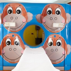 This CT Scanner in the Hope Children's Hospital in Chicago got a more kid-friendly look courtesy of Jeff Koons and RxArt.