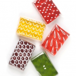 Jelly packaging uses the colorful product as part of the design, by Rosie Hardwick.