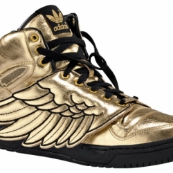 After a long wait, it's official, the Jeremy Scott adidas 'golden wings' will be released March 2009. Mixing 80's basketball style with removable metallic leather flaps and JS laced jewels.