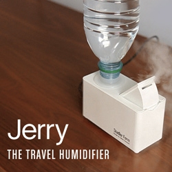 "Travel Humidifier - ""Just add your own water bottle, plug the unit in and enjoy clean, moist air. Fits most standard PET bottles (max 17 oz). Features an automatic shut off and emits no sound."""