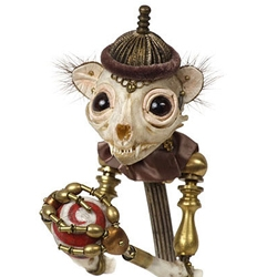Marco, a sculpture by Jessica Joslin, is composed of  antique hardware and findings, bone, beads, fur, painted wood, satin and velvet, glove leather, and  glass eyes.