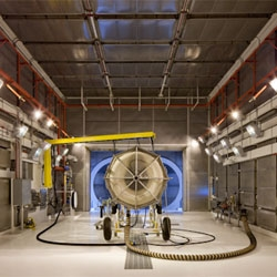 Jet Test Center - architectural photograph of the interior of a facility for testing small jet engines by Alistair Tutton.