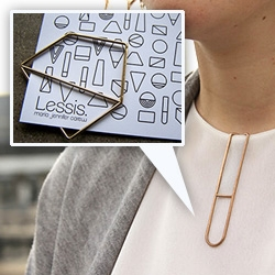 Maria Jennifer Carew LessIS jewelry collection that rethinks what a pendant is - instead of having it on a chain, these 3D printed pieces can be worn more like paper clips.