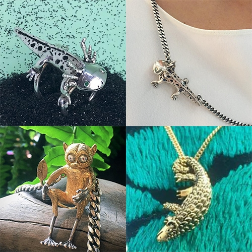 SH for You jewelry by Sofia Herrera - adorable tarsiers, axolotls, and more creatures in beautiful recycled silver and gold.