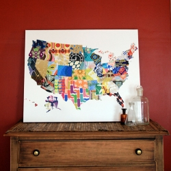 A new modern (and colorful) take on the USA map. Each state is filled with a pattern drawn by Jennifer Hill. All 50 patterns are inspired by an imaginary vacation to a different locale. It is available as a poster or stretched on canvas and ready to hang.