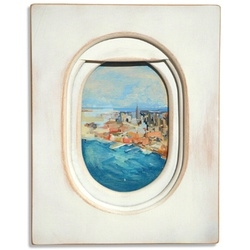 LA based artist Jim Darling's series of paintings of airplane window views.