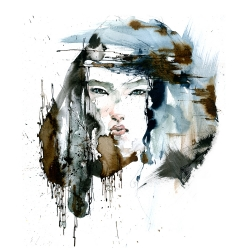 Unique  fashion illustration using water color and mix media by Artist Jinean Luttig based in LA.