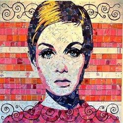 Look closely to see  junk mail, postcards, business cards, greeting cards, cruise itineraries… stand back to see them upcycled into a textural representation of beauty. Mosaics by Schimmel.