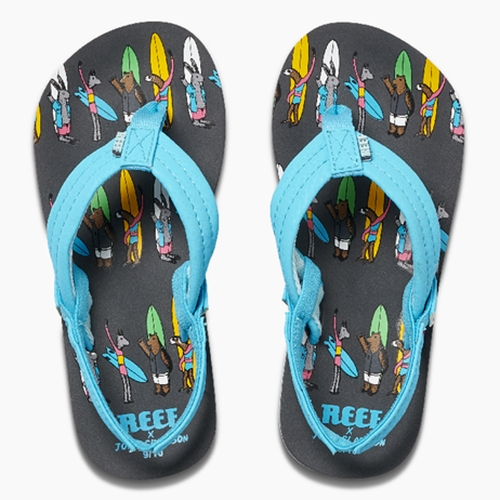 Jonas Claesson for Reef (KIDS!) - 4 adorably illustrated surfer creature printed flip flops for big kids and tiny kids.