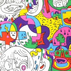 U.K. based artist Jon Burgerman, best known for his great doodles, has created wallpaper for your home that you can color in or leave as is... We're getting some and inviting everyone over to help us out, as long as they color inside the lines!
