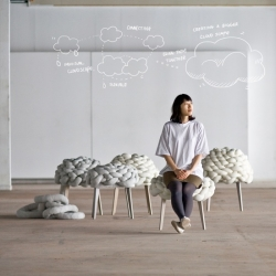 Debuting at this year's DMY Berlin is the Cloud Stool  by Studio Joon & Jung. The highlight of the seat is its cushion which is constructed of grey and white stuffed cords, knotted and twisted to resemble cloudscape.