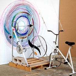 "Joseph L. Griffith's ""Drawing machine #1"" interactive mixed media installation."