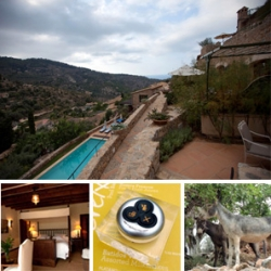 Inside our suite at La Residencia, Deia, Mallorca ~ from the amazing views, to the four poster bed (with tv that comes out of nowhere) ~ the huge bathroom to the donkeys, olive groves, and organic garden...