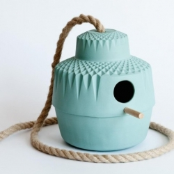 'Who Needs a Wooden House Anyway' Birdhouse designed by Dutch ceramist Lenneke Wispelwey.