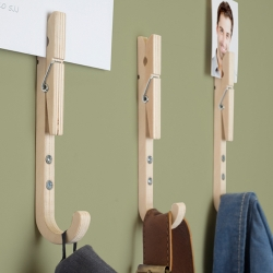 Inspired by the traditional wooden clothes peg, Jpeg's are  a set of coat hooks with handy pegs.