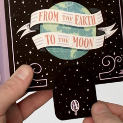 Student Jim Tierney with illustrations and designs for Jules Verne book classics. Loving how 'From the Earth to the Moon' has an interactive tab and 'Around the World in 80 Days' has a spin-wheel on the dust jacket. Beautiful!