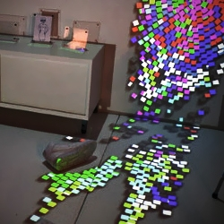 Curious Displays by Julia Tsao is a new platform for display technology.  The surface is made of hundreds of ½ inch display blocks. Each block operates independently as a self-contained unit, with full mobility.
