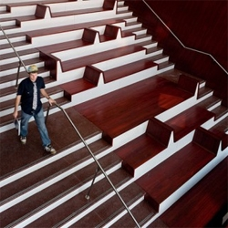 Amazing details at the recently renovated Julliard School at the Lincoln Center in New York, designed by Diller Scofidio. The stairs are awesome!