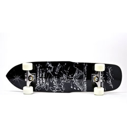 Limited edition skateboard decks by Steve Olson and Harry Jumonji. The deck has a unique shape and a shiny black base. Each deck is signed and numbered using silver Krink ink pens, Independent Trucks and 78 Ricta cloud wheels.