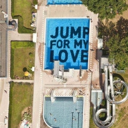 This text art installation recently spotted in Wiesbaden, Germany, gets bonus points for involving both a swimming pool and the lyrics to the Pointer Sisters song