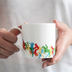 Jump mug series from Reiko Kaneko include a mug for the racer, hurdler, BMX rider, gymnast, horse jumper and pole vaulter.