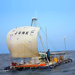 How do you raise awareness for the growing collection of junk floating in the Pacific?  Sail a boat made entirely out of junk through it!