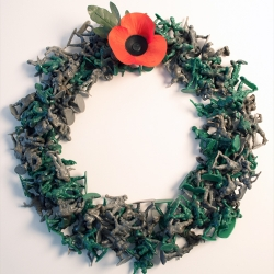 A 'Remembrance Day Wreath' made from over 300 toy soldiers.