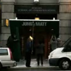 Jung Von Matt hi-jacked the entrance to Berghs School of Communication in guerrilla campaign.