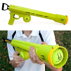 Hyper Pet's K9 Kannon tennis ball launcher... the video is pretty funny.