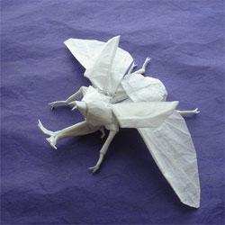 Impressive origami rhinoceros beetle (kabutomushi) by Shuki Kato.