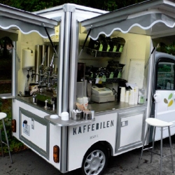 """Kaffebilen"" is a mobile espresso bar driving around Oslo, Norway selling good coffee and sandwiches. Cool company and car. Pretty nice graphic profile as well..."