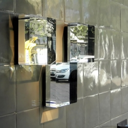 Mirrors for Boffi made from solid, 55mm thick acrylic slabs, the same that are used in deep aquariums