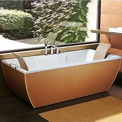 uber-modern leather tub with floating headrests from ws bath collections