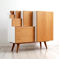 'An furniture' by Studio Kam Kam inspired by the ratios used for Ax sheets of paper (A2,A3,A4). Both functional and sculptural it works as a closet, bookshelf, and storage cabinet.