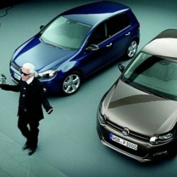 "Karl Lagerfeld stars in a new ad for the Volkswagen Golf ""Style""."