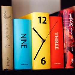 The Karlsson Table Clock Book adapts neatly into your bookshelf disguised as an actual set of books. It comes in 2 color-sets; colorful and b&w.