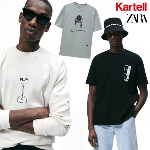 On unexpected collabs... KARTELL x ZARA menswear capsule collection... T-shirts, sweatshirts, caps, jogger jackets and trousers will all carry the Kartell logo along with Masters, Componibili, Fly and Louis Ghost motifs.