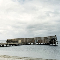 Kastrup Sea Baths in by White Arkitekter. A wood diving platform in Copenhagen, Denmark, open to all public.