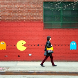 Real life Pacman game painted on the streets of Brooklyn by freelance photographer and street artist Katie Sokoler