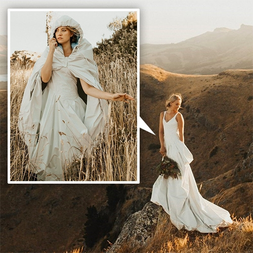 Kathmandu Adapt Wedding Dress! Made of GORE-TEX, lined with pale blue merino wool, water and wind-proof, and the train transforms into a cape with hood! Designed by Tanya Carlson. One of a kind, and complete with pockets!