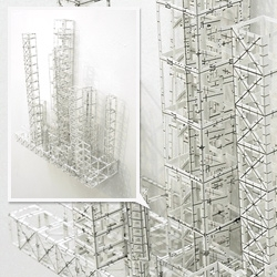Katsumi Hayakawa's impressive wireframe paper modeling. Images of the exhibition at Gallery MoMo in Roppongi.