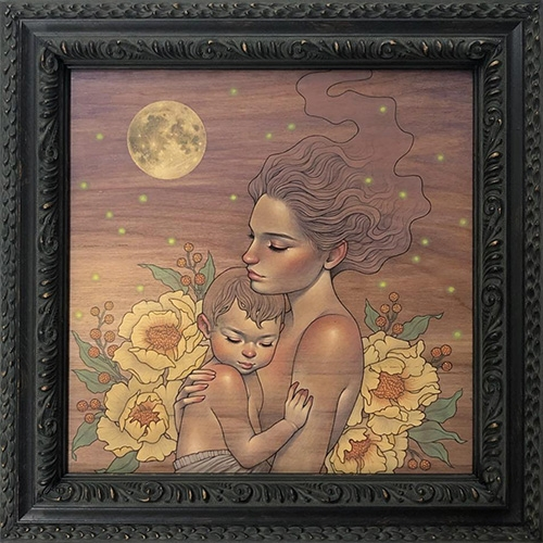 "Audrey Kawasaki ""Clair de Lune' print will be available for 48 hours beginning Sunday May 19th 2pm PST on Static Medium as part of the online Sofa-Con 2019! Happy Mother's Day!"